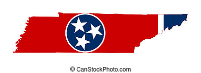 State of Tennessee flag map