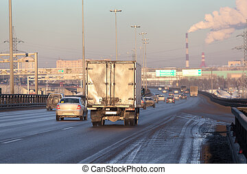 Freight truck on the city highway