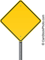 Blank warning road sign - Vector illustration of a blank...
