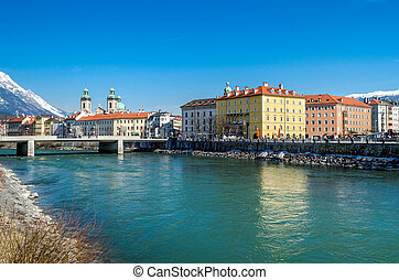 Innsbruck city, Austria - Innsbruck city on banks of river...