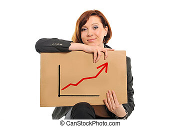happy busy business woman holding growth sales graph - happy...
