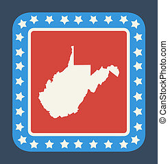 West Virginia state button on American flag in flat web...