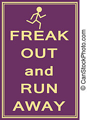 freak out and run illustration vector format