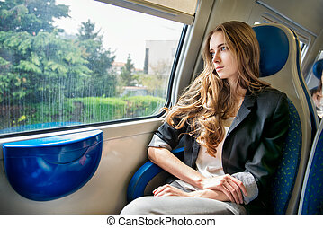 Woman travel by train