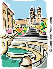 Rome (Piazza di Spagna) - Illustration of the Piazza di...