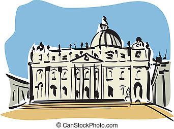 Rome St Peters Basilica - illustration of St Peters Basilica...