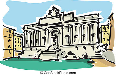 Rome (Trevi Fountain) - Illustration of the Trevi Fountain...