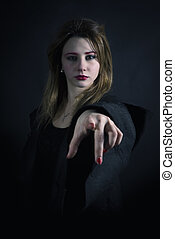 Gothic priestess pointing you - Gothic priestess with finger...