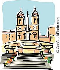 Rome Trinita dei Monti - illustration of Trinita dei Monti...
