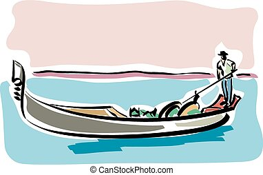 Venetian gondola - illustration of an Venetian gondola