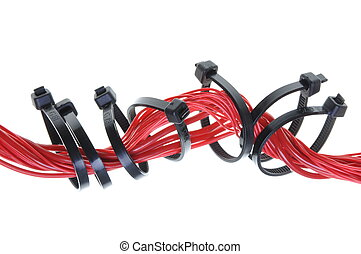 Red electric cable with cable ties isolated on white...