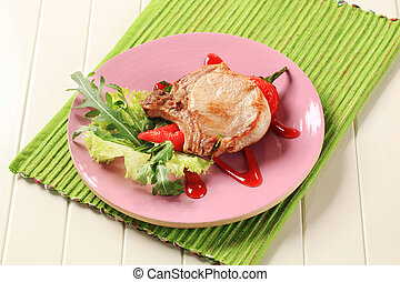 Pork chop with hot sauce - Pork chop and red pepper...