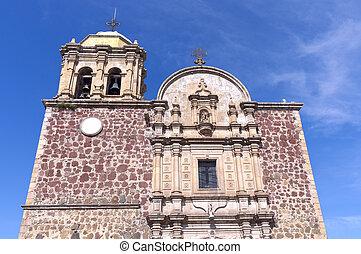Church Facade in Tequila Mexico - Church facade with columns...