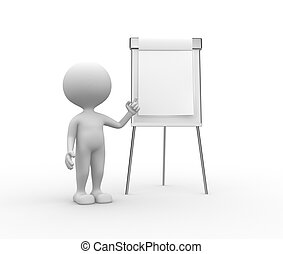Flipchart - 3d people - man, person with flip chart