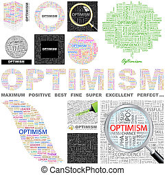 Optimism. Concept illustration. - Optimism. Word cloud...