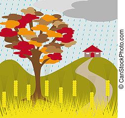 autumn tree rain and wheat