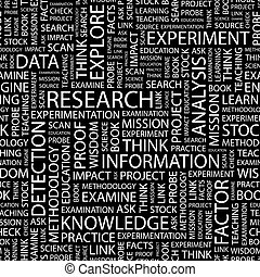 RESEARCH. Seamless pattern. Word cloud illustration.