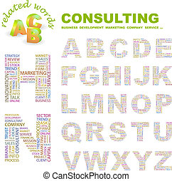 CONSULTING. ABC. Word cloud concept illustration. Print...