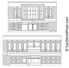kitchen plans - kitchens plans layout showing elevations