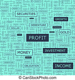 PROFIT Word cloud illustration Tag cloud concept collage