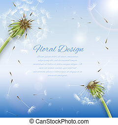 White dandelion with pollens background or cover template...