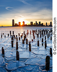 Sunset over Frozen Hudson River and Jersey City - Wood...