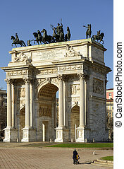 Arco della Pace from south, Milan - view of marble monument...