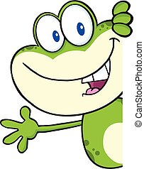 Green Frog Cartoon Character - Cute Green Frog Cartoon...