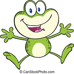 Cute Green Frog Character Jumping - Cute Green Frog Cartoon...