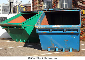 Industrial waste skips - Different colored Industrial waste...