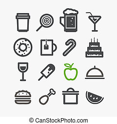 Different drinks and food icons set. Design elements