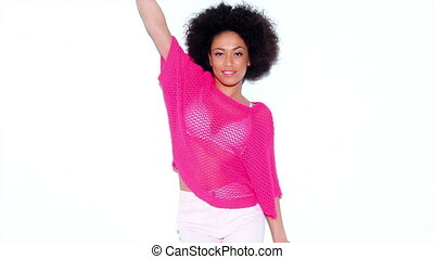 Sexy African American Gril Posing In Pink Sweater Against...