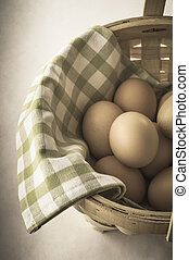 Egg Basket - Vintage Effect - Angled shot, from above, of a...