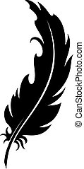 Feather (silhouette) - Vector silhouette of a pen on a white...