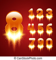Glowing Numbers Set Vector illustration for your design