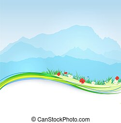Vector spring Mont Blanc background with paper shadow effect...
