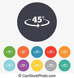 Angle 45 degrees sign icon Geometry math symbol Round...