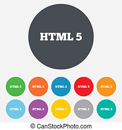 HTML5 sign icon New Markup language symbol Round colourful...
