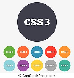CSS3 sign icon Cascading Style Sheets symbol Round colourful...