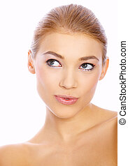 Cute Blond Girl - Portrait of beautiful blond woman on...