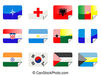 Glossy flags - Glossy national flags on the black background