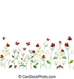 flor, aquarela, cartão