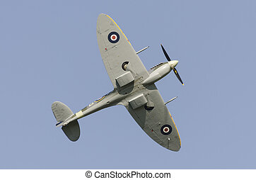 Supermarine Spitfire in flight showing eliptical wing shape