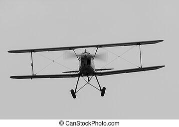 Biplane - head on view of 1930's German Biplane, Bucker...