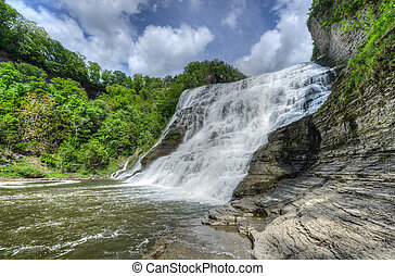 Ithaca Falls, New York - Ithaca Falls in the Finger Lakes...