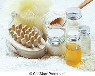Spa Settlement with Essential Oil Bottles