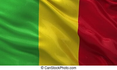 Flag of Mali seamless loop - Flag of Mali gently waving in...