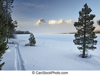 Winter Idaho mountains near a lake with ski trail - Ski...