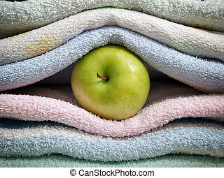 Apple and towels