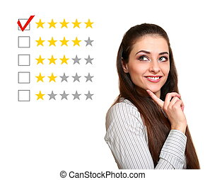 Beautiful woman choose five stars rating in feedback. Good...